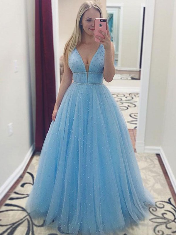 A-Line V-neck Floor-Length Blue Pearls Tulle Prom Dresses