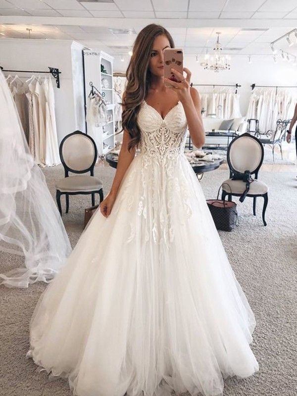 A-Line Sweetheart Floor-Length Lace Tulle Wedding Dresses