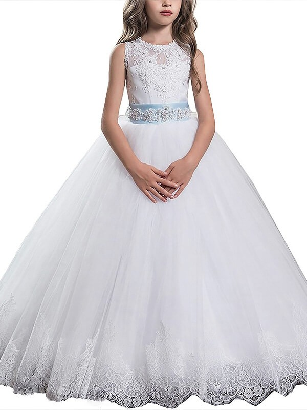 White Ball Gown Scoop Floor-Length Flower Girl Dresses with Applique