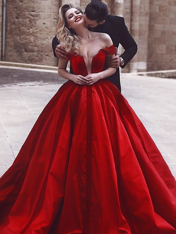 Ball Gown Sleeveless Long Satin Red Prom