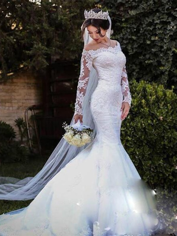 Mermaid Tulle Lace Off The Shoulder White Brush Train Wedding Dresses Veroella