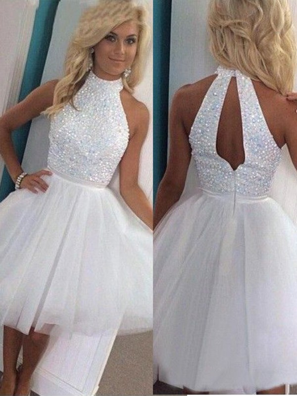 brand new deft design wide selection of colors Tulle A-Line Short/Mini Halter White Homecoming Dresses ...