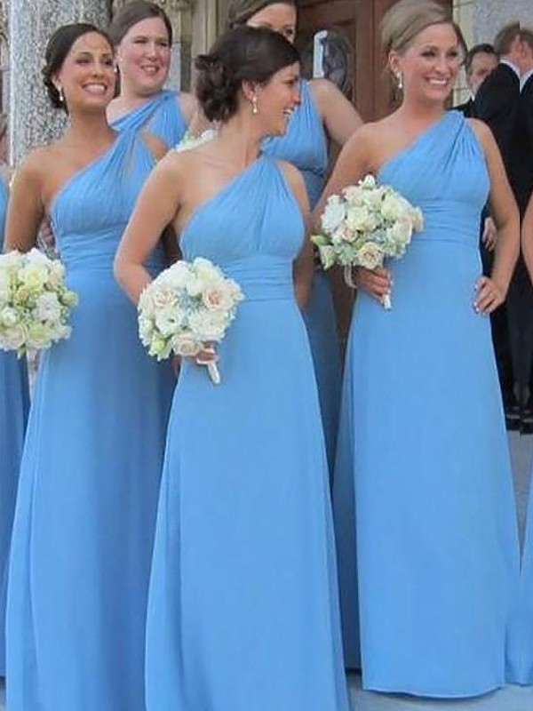 Sheath One Shoulder Floor Length Blue Bridesmaid Dresses