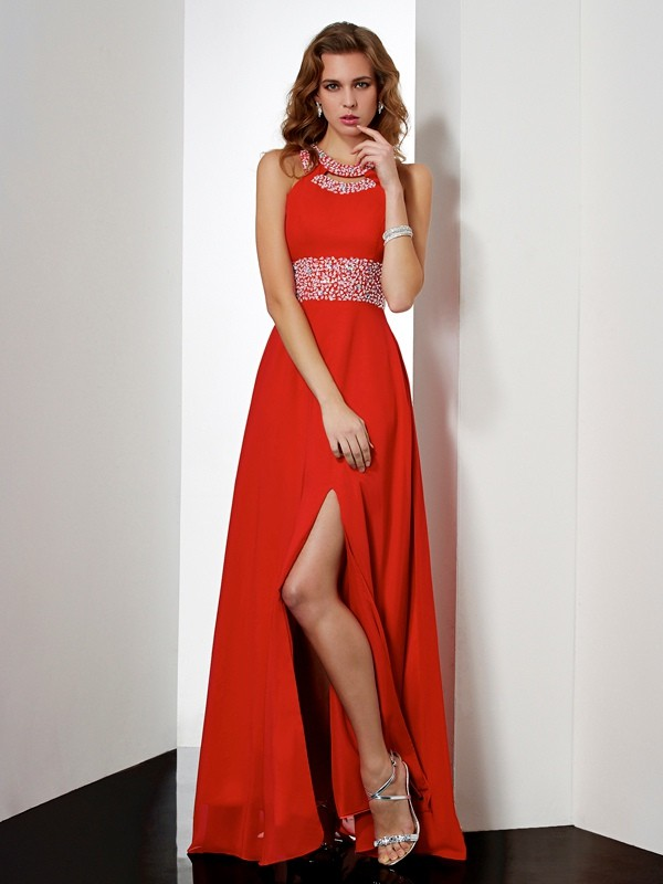 Chiffon Empire Floor-Length Jewel Red Prom Dresses