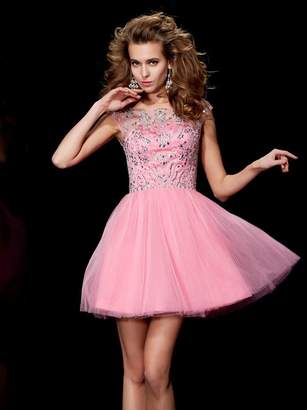 Satin Bateau Short/Mini Pink Homecoming Dresses