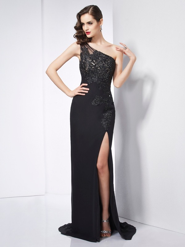 Chiffon One-Shoulder Brush Train Black Prom Dresses