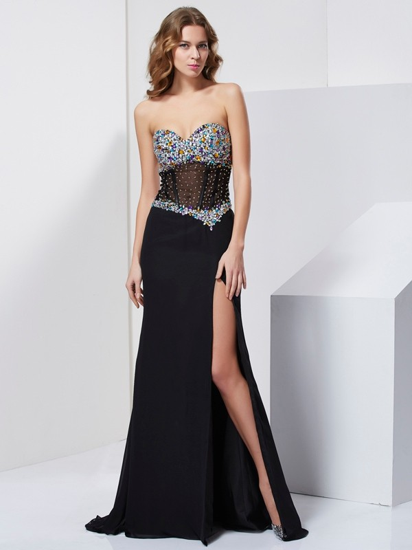 Mermaid Sweetheart Floor-Length Black Prom Dresses with Beading
