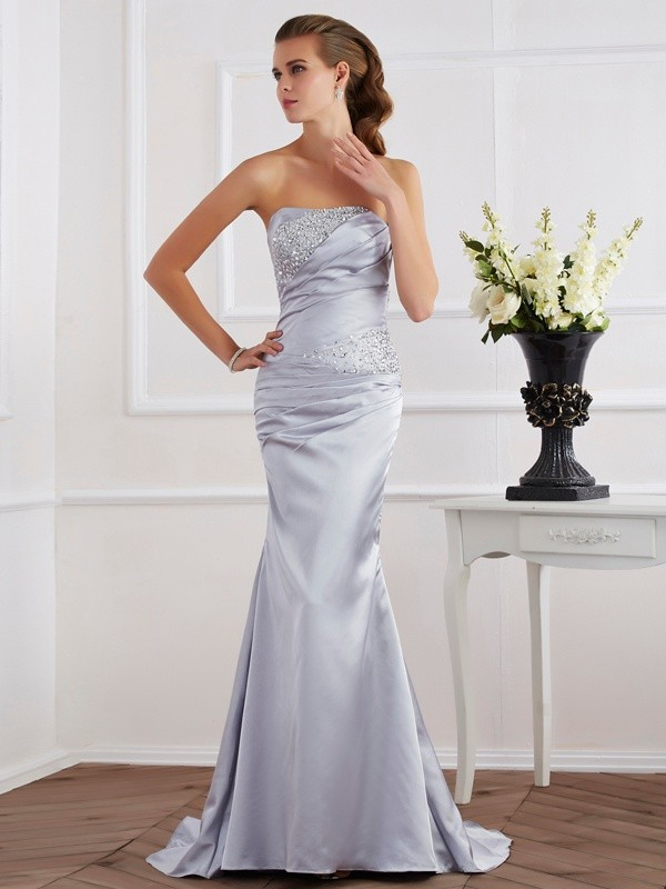 Mermaid Strapless Brush Train Silver Prom Dresses with Beading