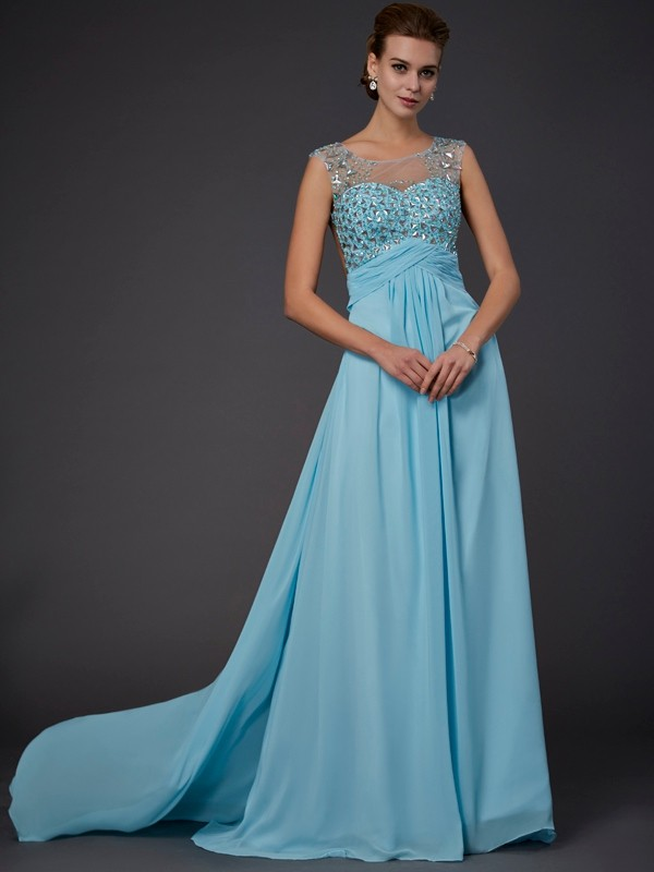 A-Line Scoop Brush Train Light Sky Blue Prom Dresses with Beading