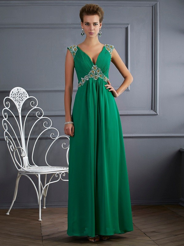 Short Sleeves A-Line V-neck Ankle-Length Dark Green Prom Dresses