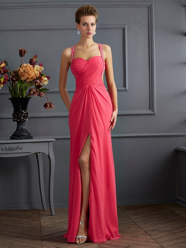 Chiffon Empire Floor-Length Sweetheart Fuchsia Prom Dresses