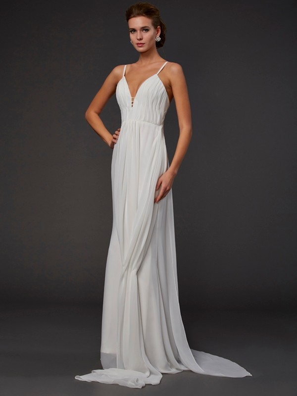 Mermaid Chiffon V-neck Floor-Length White Prom Dresses