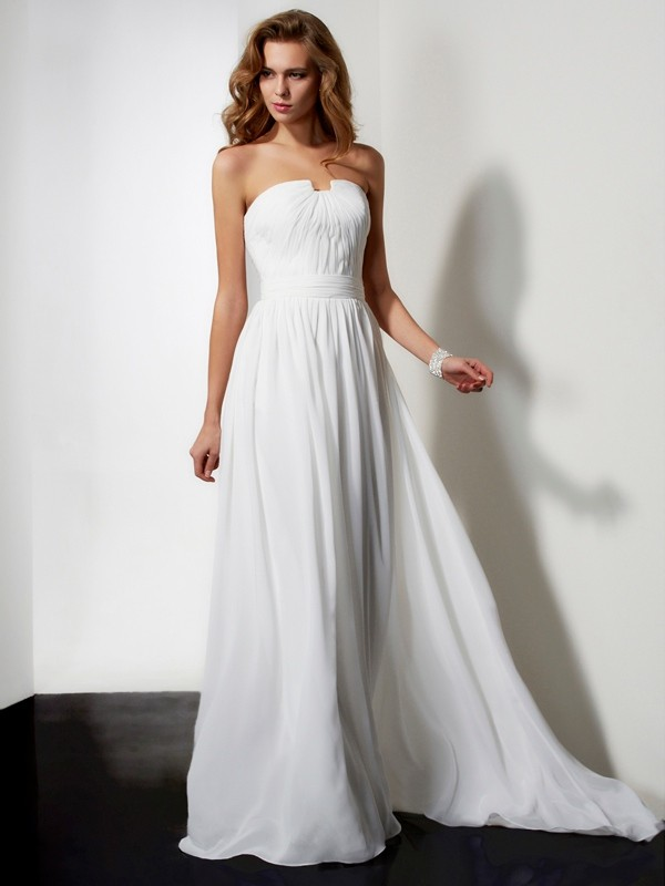 A-Line Strapless Brush Train Ivory Prom Dresses with Ruffles