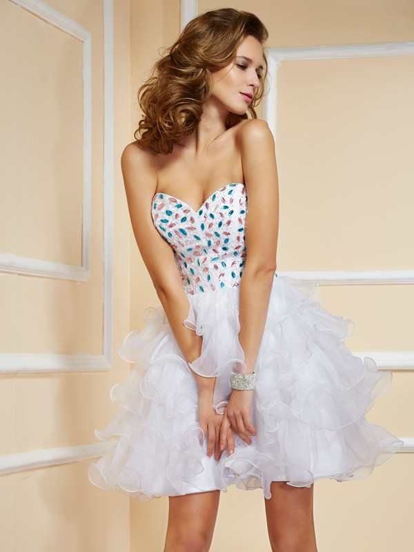 White Sweetheart Organza Short/Mini Homecoming Dresses