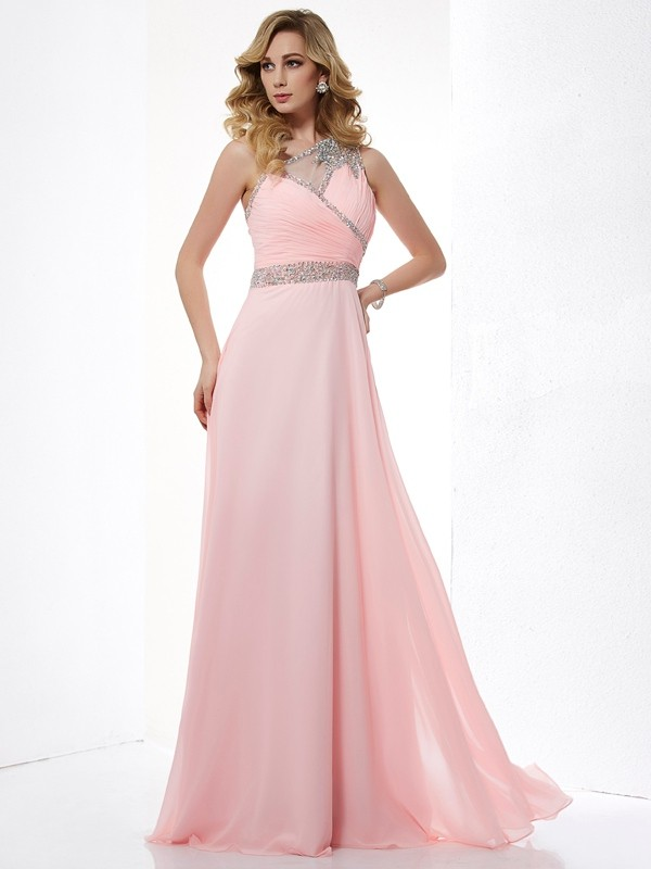 Chiffon One-Shoulder Floor-Length Pink Prom Dresses