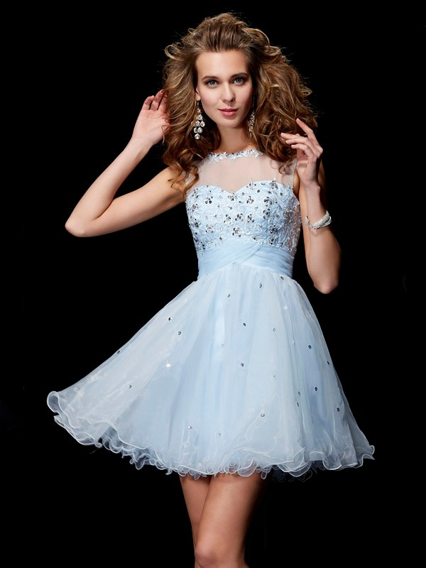 A-Line Scoop Short/Mini Light Sky Blue Homecoming Dresses