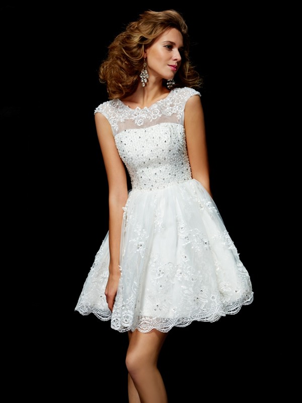 Organza V-neck Short/Mini Ivory Homecoming Dresses