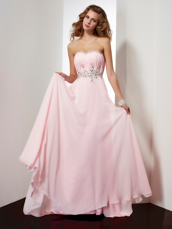 A-Line Sweetheart Brush Train Pink Prom Dresses with Beading