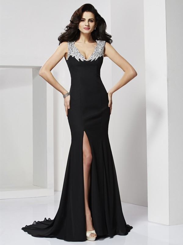 A-Line Straps Floor-Length Black Prom Dresses