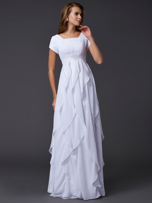White Square Chiffon Floor-Length Prom Dresses
