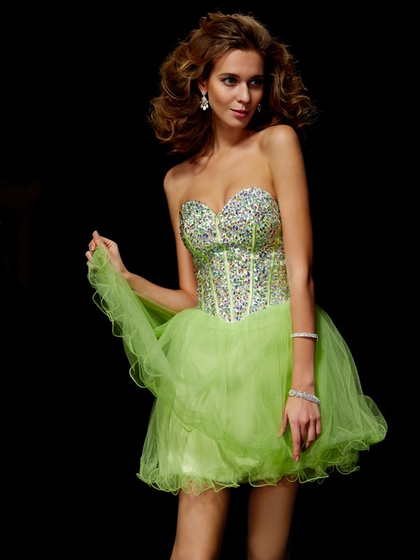 A-Line Elastic Woven Satin Sweetheart Homecoming Dresses with Beading