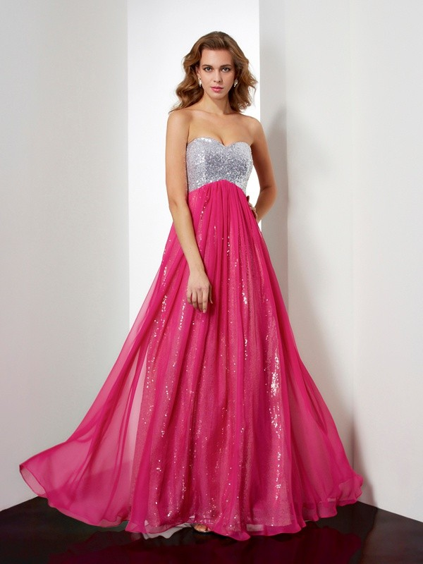 A-Line Sweetheart Floor-Length Fuchsia Prom Dresses