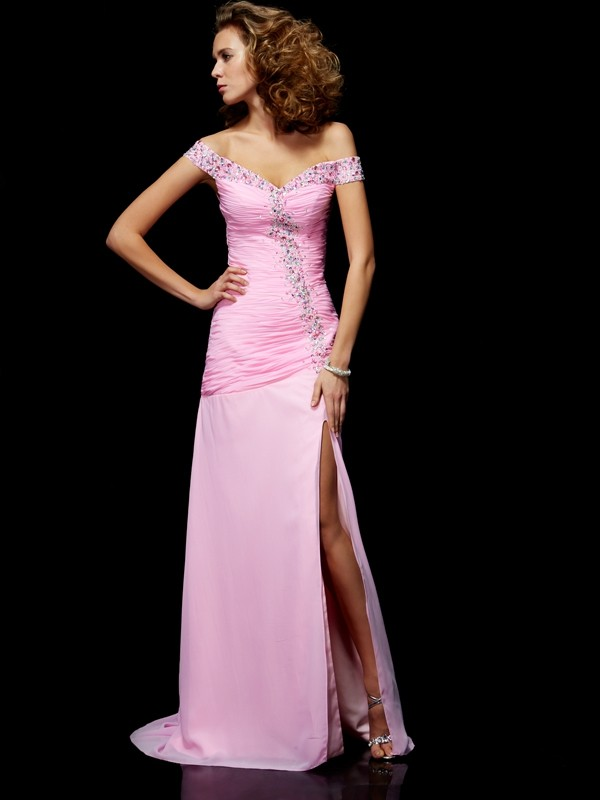 Pink Off-the-Shoulder Chiffon Floor-Length Prom Dresses
