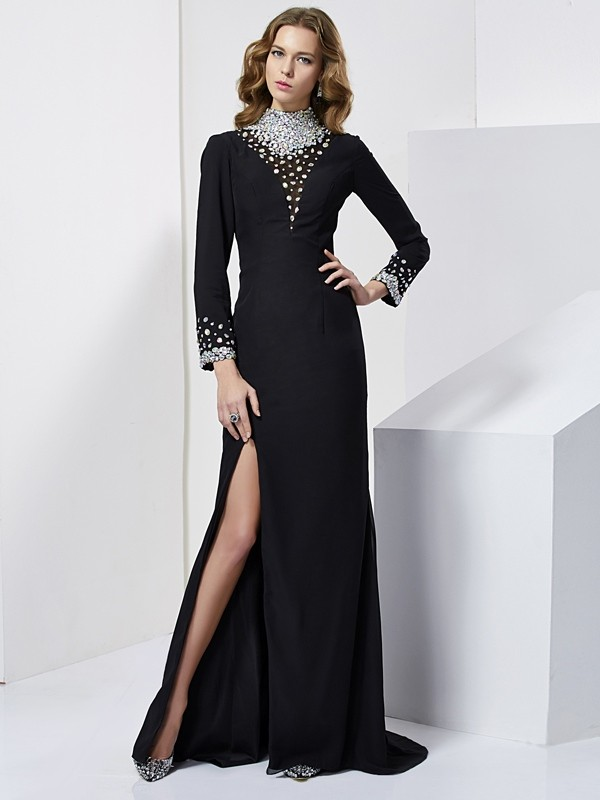 Sheath Chiffon Long Sleeves High Neck Brush Train Black Prom Dresses