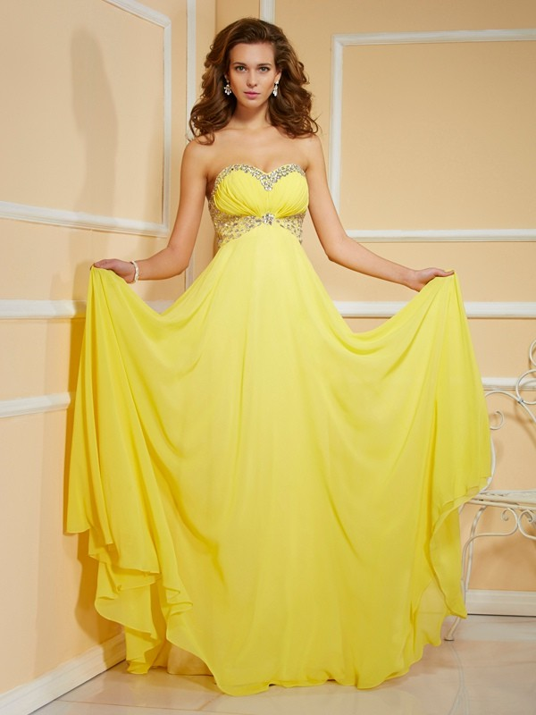 Chiffon Sweetheart Floor-Length Yellow Prom Dresses