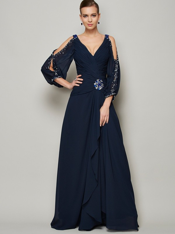 A-Line V-neck Floor-Length Dark Navy Prom Dresses with Beading