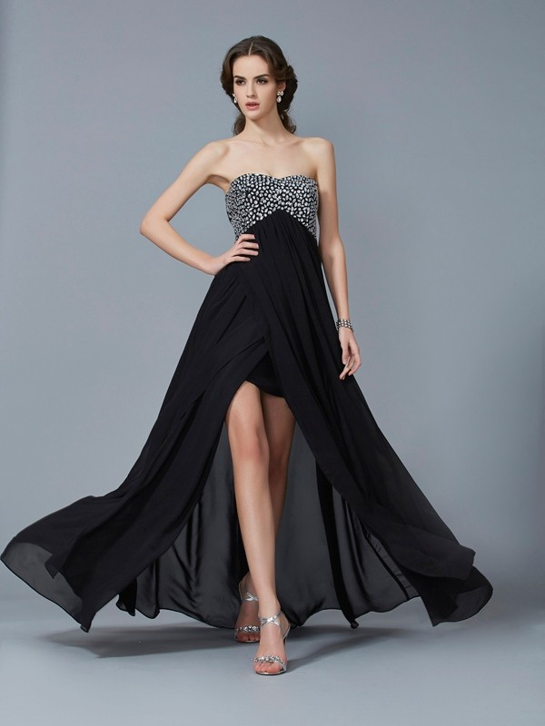 Black A-Line Sweetheart Floor-Length Prom Dresses with Beading