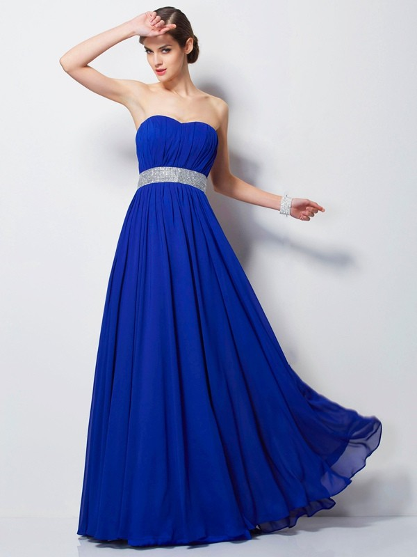 Sweetheart Floor-Length Royal Blue Prom Dresses with Beading