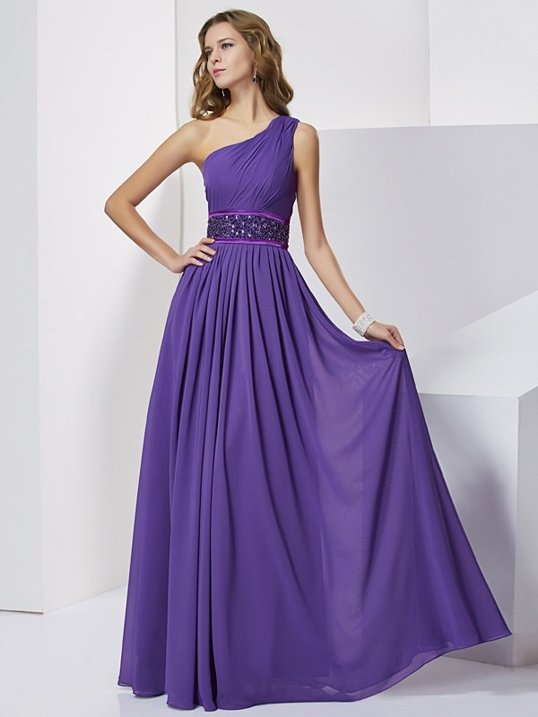 Empire One-Shoulder Floor-Length Regency Prom Dresses with Beading