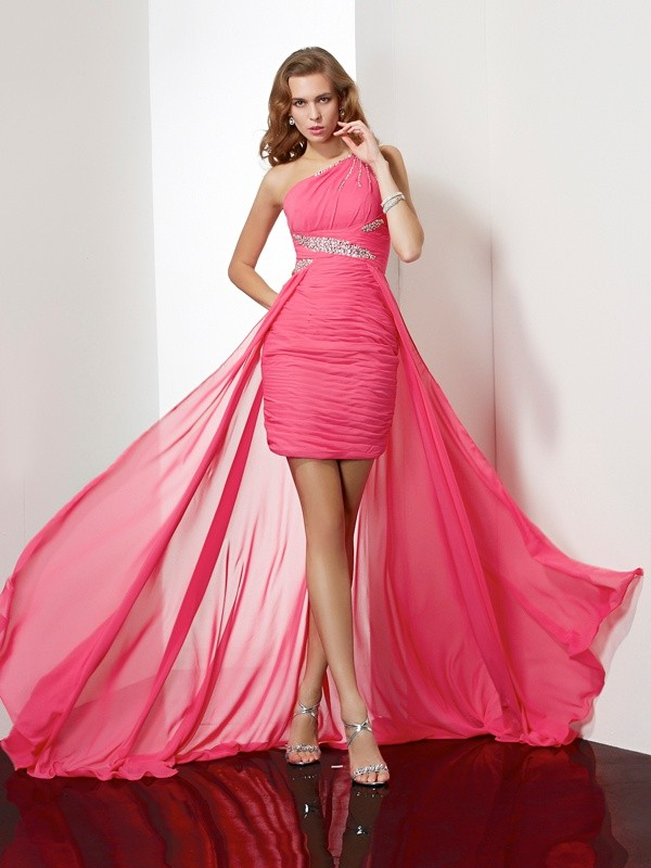 Sheath One-Shoulder Short/Mini Fuchsia Homecoming Dresses