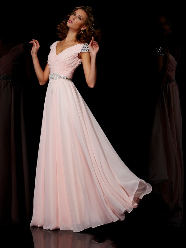 Pink V-neck Chiffon Floor-Length Prom Dresses