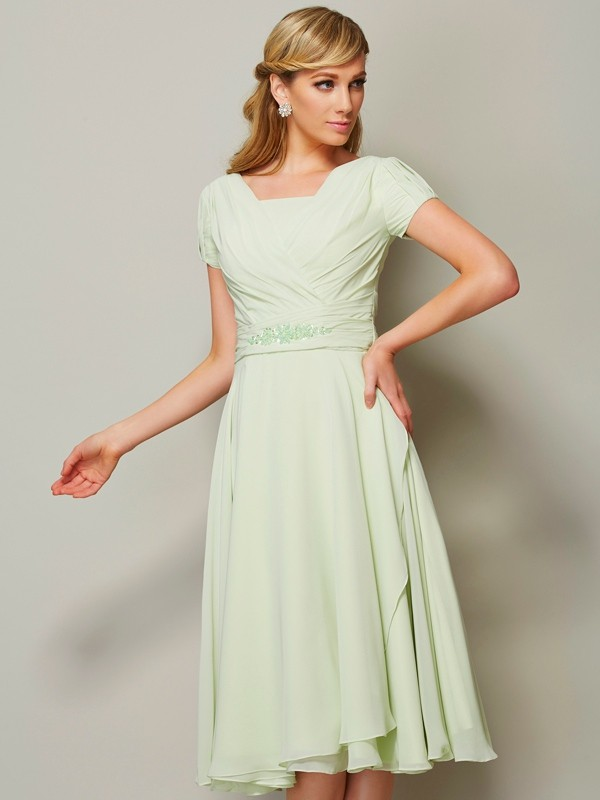 Short Sleeves Sheath Bateau Knee-Length Sage Bridesmaid Dresses