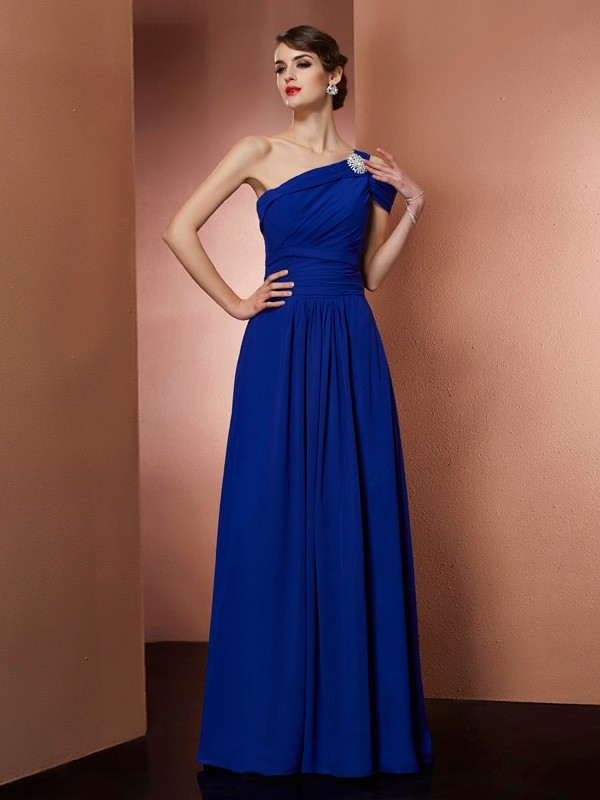 Floor-Length Royal Blue One-Shoulder Prom Dresses with Pleats