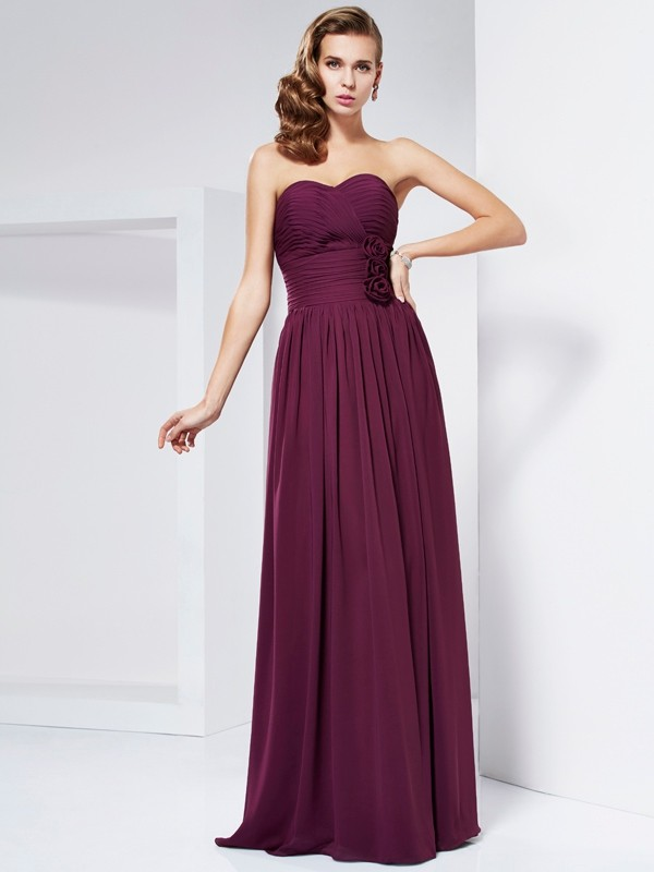 Burgundy Sheath Sweetheart Long Prom Dresses with Hand-Made Flower