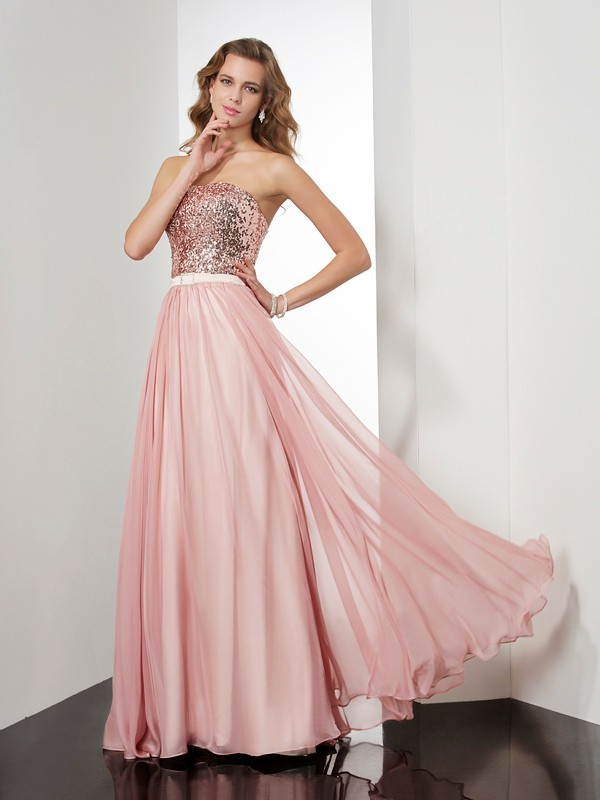 A-Line Strapless Floor-Length Pink Prom Dresses with Paillette