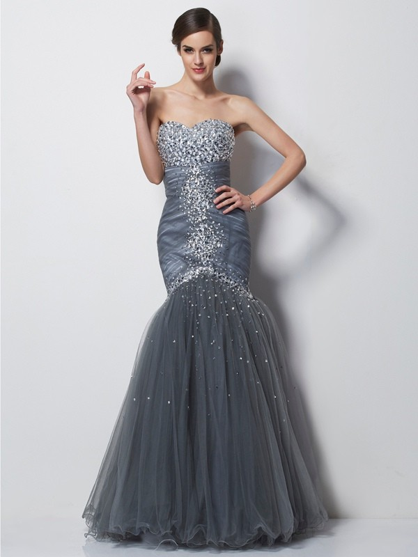 Mermaid Sweetheart Floor-Length Grey Prom Dresses