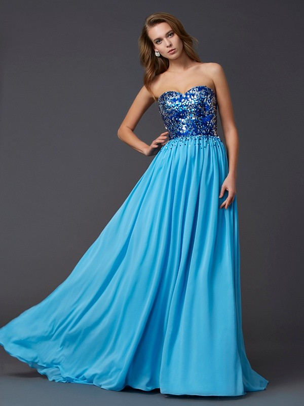 Blue Sweetheart Chiffon Brush Train Prom Dresses