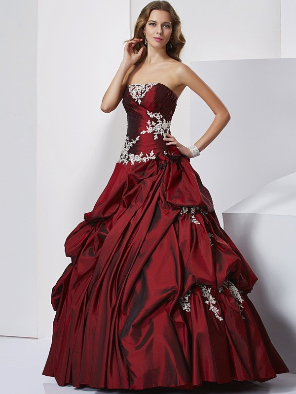 Taffeta Sweetheart Floor-Length Burgundy Prom Dresses