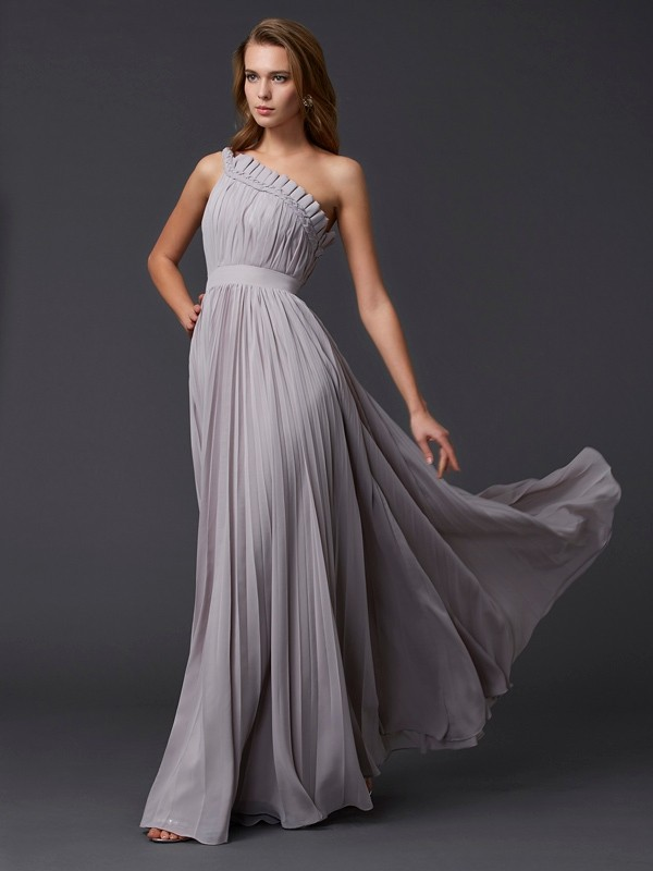 A-Line One-Shoulder Floor-Length Grey Prom Dresses with Pleats