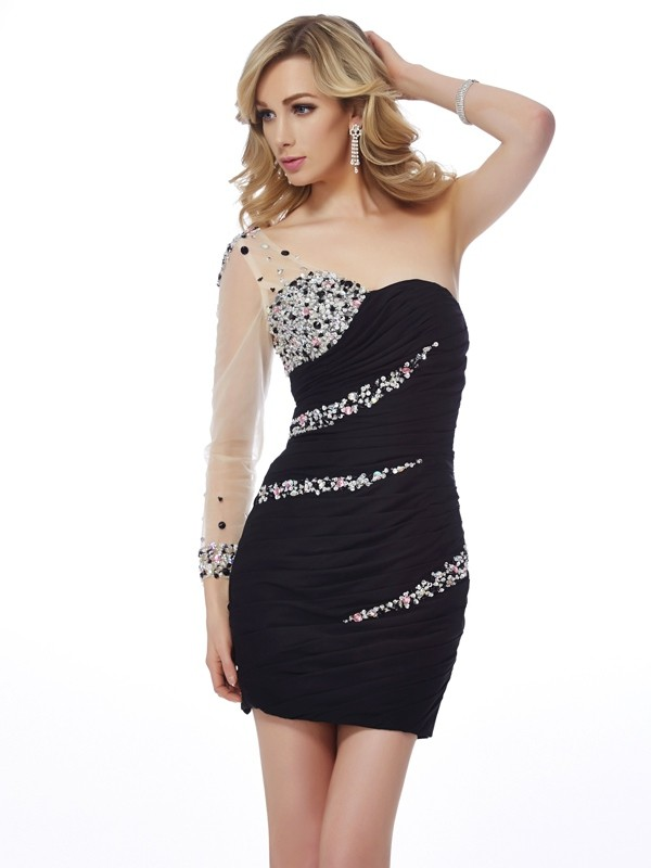 Sheath One-Shoulder Short/Mini Black Homecoming Dresses with Beading