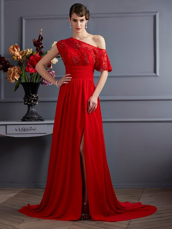 A-Line Chiffon One-Shoulder Court Train Prom Dresses with Applique