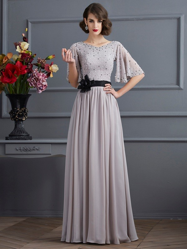 Silver High Neck Chiffon Floor-Length Prom Dresses
