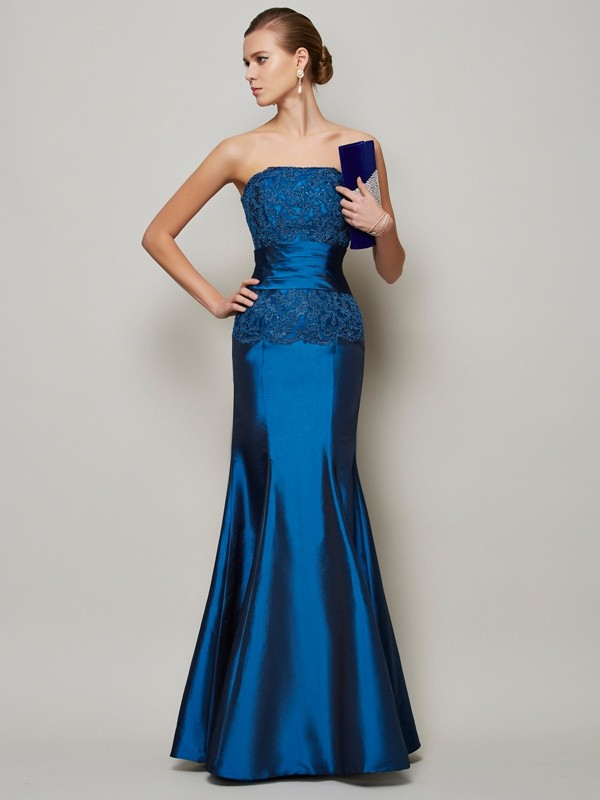 Strapless Floor-Length Royal Blue Prom Dresses with Beading