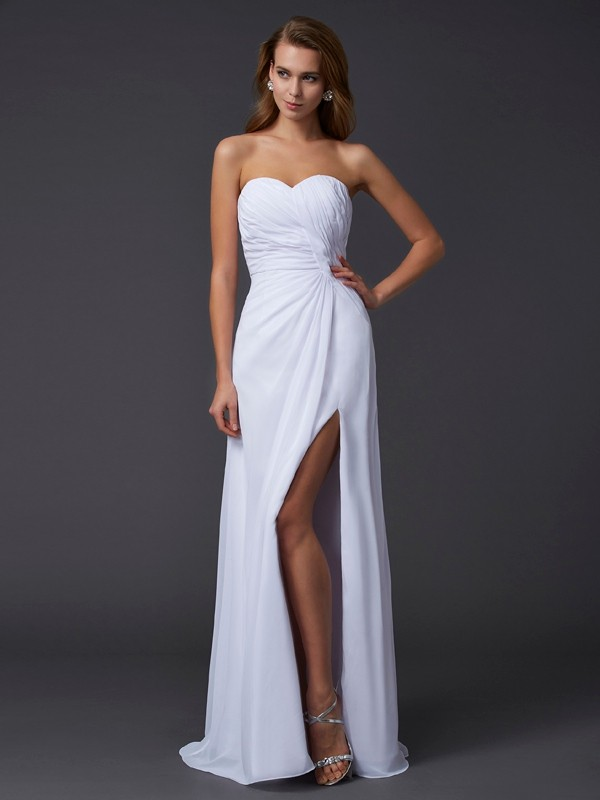 Chiffon Sweetheart Floor-Length White Prom Dresses