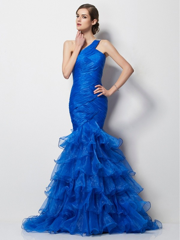 Tulle One-Shoulder Brush Train Royal Blue Prom Dresses