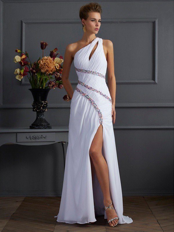 Sheath One-Shoulder Brush Train White Prom Dresses